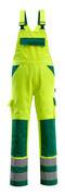 07169-470-1703 Salopette avec poches genouillères - Hi-vis jaune/Vert bouteille