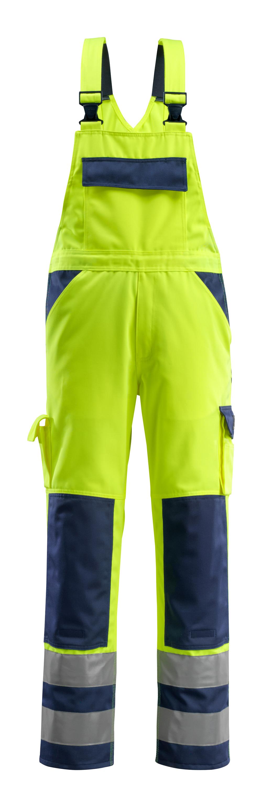 07169-470-171 Salopette avec poches genouillères - Hi-vis jaune/Marine