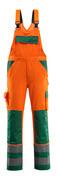 07169-860-1403 Salopette avec poches genouillères - Hi-vis orange/Vert bouteille