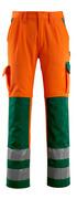 07179-860-1403 Pantalon avec poches genouillères - Hi-vis orange/Vert bouteille