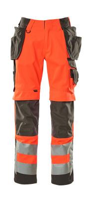 15531-860-14010 Pantalon avec poches genouillères et poches flottantes - Hi-vis orange/Marine foncé
