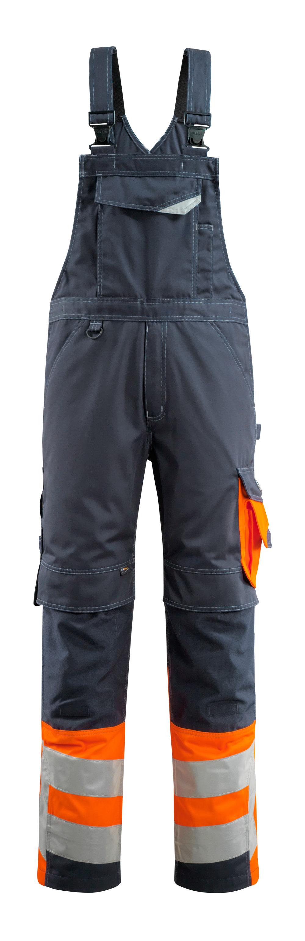 15669-860-01014 Salopette avec poches genouillères - Marine foncé/Orange