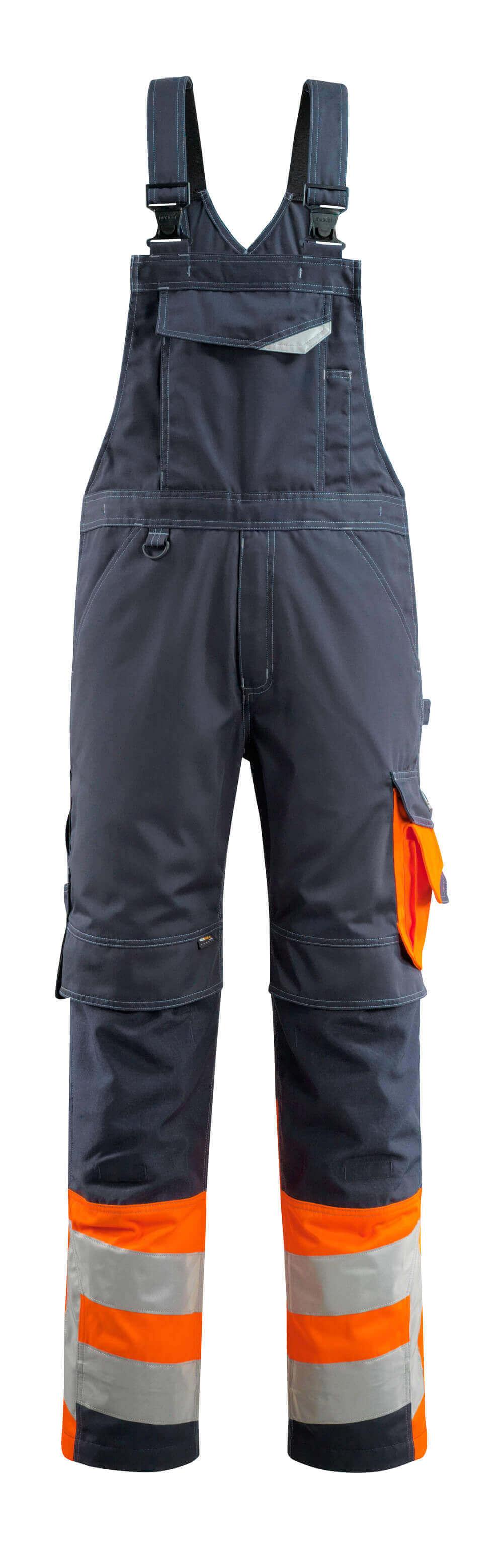 15669-860-01014 Arbeitslatzhose - Schwarzblau/hi-vis Orange