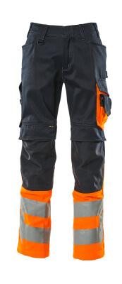 15679-860-01014 Pantalon avec poches genouillères - Marine foncé/Orange