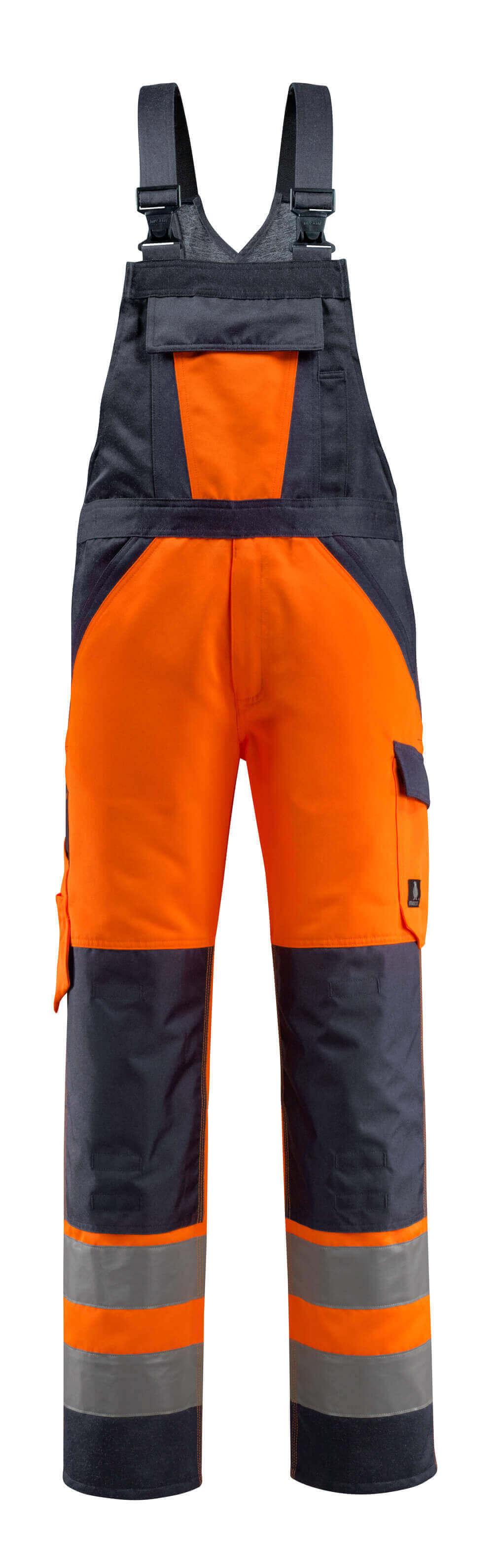15969-948-14010 Salopette avec poches genouillères - Hi-vis orange/Marine foncé