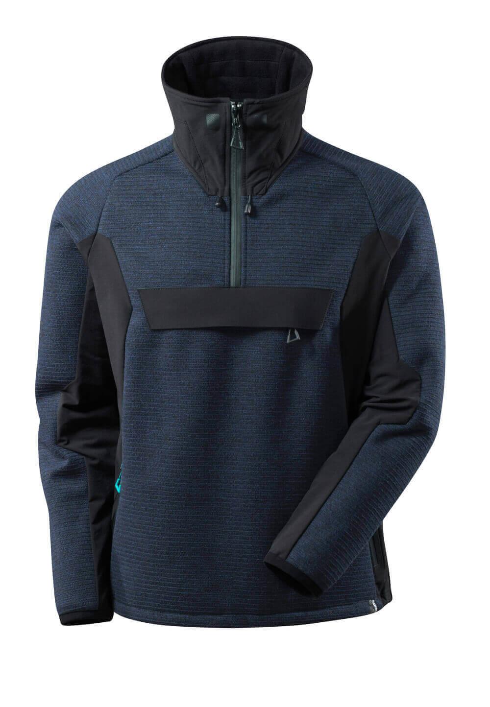 17005-309-01009 Strickjacke mit kurzem Reißverschluss - Schwarzblau/Schwarz