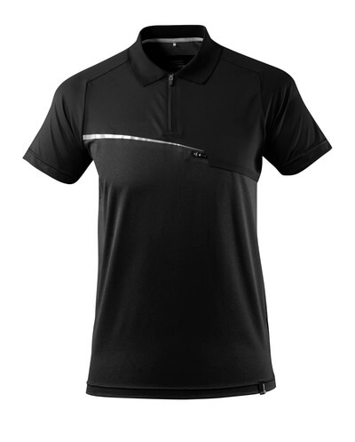 17283-945-09 Polo-Shirt mit Brusttasche - Schwarz