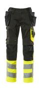 17531-860-0917 Pantalon avec poches genouillères et poches flottantes - Noir/Hi-vis jaune
