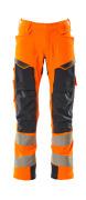 19079-511-14010 Pantalon avec poches genouillères - Hi-vis orange/Marine foncé