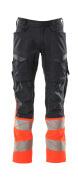 19679-236-01014 Pantalon avec poches genouillères - Marine foncé/Orange
